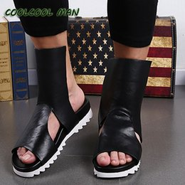 Wholesale Cool Leather Mens Boots - Wholesale-In summer the new trend of hollow out Rome Style genuine Leather mens slippers Fashion design men's sandals cool summer boots