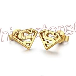 Wholesale Earring Superman - Sell like hot cakes Gold Plated Stud Earrings Stainless Steel Superman S Logo Triangle Geometric Stud Earrings Jewelry F666