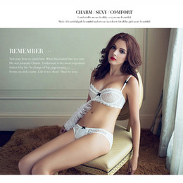Wholesale White Bra 34d - 68Z ABCD Half cup ultra - thin lace sexy bras ladies bra sets and panty Women underwear factory 68