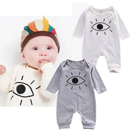 Wholesale Cute Animals Big Eyes - INS Fashion Cute Animal Romper Cartoon Big Eyes Printed Unisex Baby Boys Girls Clothes Rabbit Totoro Newborn Baby Infant Jumpsuit