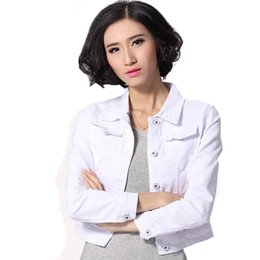 Wholesale Denim Jacket Women Short Jeans Overcoat Ladies Jackets Tops Turn Down Collar Slim White Black Jeans Top For Women High Quality