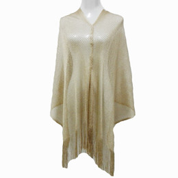 Wholesale Metalic Fashion - 2017 Spring Rock Style Metalic Shiny Fishnet Poncho Scarf Shawl Women Sexy Summer Gold Sequin Fringe Poncho