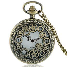 Wholesale Vintage Antique Skeleton Pocket Watches - Wholesale-Vintage Bronze Gear Hollow Skeleton Design Steampunk Pocket Watch Necklace Good Quality P619