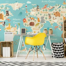 Wholesale map japan - Large Mural Painting Room Living Room Background Wallpaper Kids Room Hand - painted Cartoon Wallpaper Customized Global Map