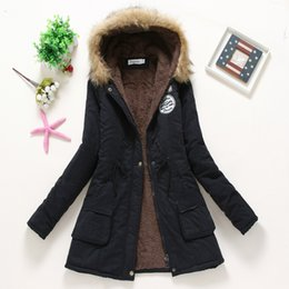 Wholesale Thicken Warm Winter Parka Coat - 2016 Women Fashion Cotton Parka Coats Winter Outdoor Casual Warm Thickening fur collar wadded outerwear Long sleeves hooded Long Coat