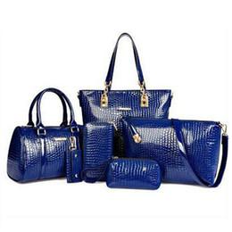 Wholesale Trendy Shoulder Bags - Wholesale-6pcs set New 2016 PU Leather Vintage Women Handbag Set Fashion Trendy Tote Shoulder Bags Cross body Messenger Bags Bolsas