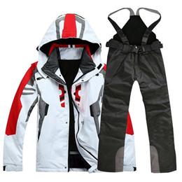 Высокое качество наружной спортивной одежды Мужская лыжная куртка Лыжные  штаны для лыжников ветрозащитная водонепроницаемая лыжная одежда от  поставщиков ... 1108cb36cd2