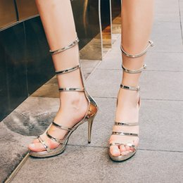 Wholesale Queen Patents - European Night Club Queen High Heels Sandals Women Solid Sexy Hollow Out Platform Shoes Gold Belt Buckle Thin Heel Sandal