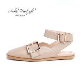Wholesale Metal Ankle Strap Flats - 2017 summer flat sandals genuine leather ankle strap small size mule shoes for woman casual fashion square toe metal decoration gladiator