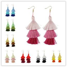 Wholesale Summer Costume Jewelry - Christmas Gift Fashion Boho Jewelry Summer Bright Three Tier Fan Fringe Tassel Earrings Women Costume Jewelry Layer Tassel Drop Earrings