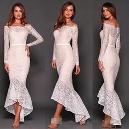 Wholesale transparent cocktail dresses - 2017 White Bateau Long Sleeve Transparent Lace Evening Dress Slim Sash Cocktail Dress Prom Party Gown Formal Occasion Wear