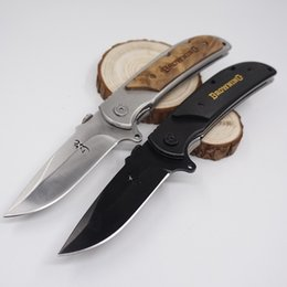 Wholesale big hunting knives - Big Size Brwoning Knife 338 Folding Pocket Knife Tactical Survival Knives Wood Handle Quick-opening Combat Knife Camping Outdoor EDC Tool