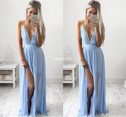 Wholesale Baby Pink Bridesmaids Dresses - Sexy Deep V-neck Baby Blue Prom Dresses 2017 Chiffon Spaghetti Straps V Neck Side Split Evening Gowns Cheap Maxi Bridesmaid Party Dresses