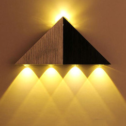 Wholesale modern glass light fixtures - Modern Bedroom Wall Lamps Triangle Home Lighting Wall Light Fixtures Luminaire brushed Silver 3W 4w 5w hallway light 3 years warranty