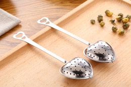 Wholesale Stainless Steel Heart Shaped Spoons - 1000pcs lot Stainless steel Heart-Shaped Heart Shape Tea Infuser Strainer Filter Spoon Spoons Wedding Party Gift Favor