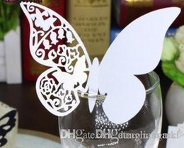 Wholesale Place Card Stands - 120pcs hallow Laser Cut Butterfly wedding Place Card hold on Wine Glass Card for Wedding Party Decoration #z110