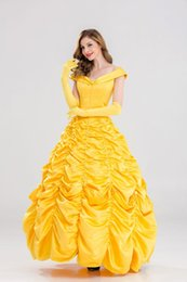 Wholesale Belle Beauty Beast Costumes Adults - New 2017 Fantasia Women Halloween Cosplay Southern Beauty And The Beast Adult Princess Belle Costume Cosplay Princess Dress Dress