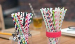 Wholesale Straw For Home - Paper Straw Eco Straw with Dot Stripe Drinking Straws for Tumbler Mugs Cups Suckers for Party Wedding Home Hot sell