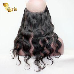 chiusura frontale completa indiana Sconti 360 Lace Front Full Lace Closure Vergine brasiliana indiana peruviana Malese capelli umani naturale Hairline estensioni dei capelli umani onda