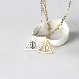 Wholesale Silver Bronze Charms - Silver Deathly Hallows Pendant necklace new arrival ,Ancient Bronze, ancient silver two colors Christmas Gift ZJ-0903103