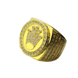 Wholesale Gold Bezel Ring - Fashion New Hip Hop 18k Gold Plated King Crown Finger Ring for Men Women Drop Shipping