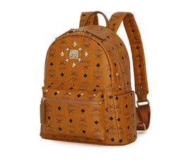 Wholesale Letter Rivets For Leather - MEM Rivet Backpack Designer Backpack for Men Women PVC Leather Boy Girls Satchel Fashion Rucksack Size Medium 20*14*32cm