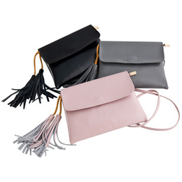 Wholesale Cover Phone Korean Style - Wholesale-Doilin 2016 Genuine Leather Shoulder Bags Tassel Bag Obag Mobile Phone Holder Women's Handbags Crossbody Bags Black Grey Pink