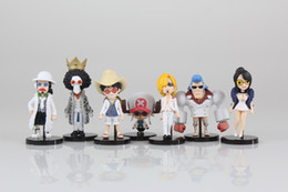Wholesale One Piece Chopper Pvc - New hot sale 7pcs set anime figure PVC toy One piece Luffy Sanji Usopp Chopper Robin BROOK 8CM gift for children