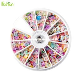 Wholesale Pearl Nail Stickers - 1200Pcs Wheel Mixed Nail Art Tips Glitters Rhinestone Nail Decoration DIY Pearl Polymer Clay Stamping Stickers Manicure