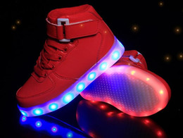 Wholesale Top Dance Sneakers - METALLIC black white red sliver dance LED LUMINOUS SHOES GOLD High Top Men Force light up white sneaker saize 35-46