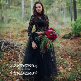 Discount plus size long sleeve crop tops - Amazing Black Sheer Lace Gothic Wedding Dresses With Long Sleeves Puffy A Line Crop Top Dress Bridal Formal Gowns