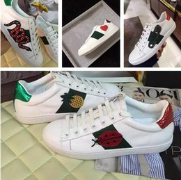 Wholesale Flower Print Shoes - Luxury Brand Embroidery Bee Snake Flower White Sneaker New Designer Original Box Mixed Colors Woman Casual Shoe Outdoors Show Shoes Size 40