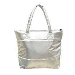 Wholesale Wholesale Cell Phone Products - Wholesale- SAF-Hot sale Products Stylish Simple Pure Color Stripe Winter Cotton Handbag Shoulder Bag-Silver