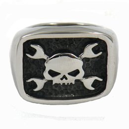 Wholesale spanner jewelry - Stainless steel punk vintage mens jewelry cross spanner wrench skull biker ring GIFT FOR BROTHERS SISTERS FSR11W73