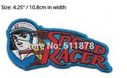 "Wholesale Wave Logos - 4.3"" Speed Racer Face Image Waving and Name Logo Movie TV Series Costume Embroidered Emblem iron on patch Baseball Cap Badge"