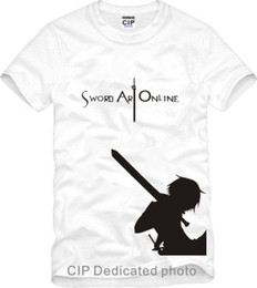 Wholesale Sword Girl Online - Free shipping new arrival cotton Childrens Tshirts Japanese anime Sword Art Online Prin ted short sleeve Kids tshirts 100% cotton 6 color