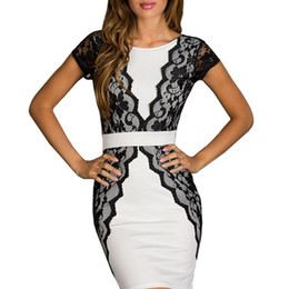 Wholesale Sexy Career Clothing - Plus size Women Clothing Backless Career Office Lace Patchwork Sexy Dress Vestidos Summer Dresses
