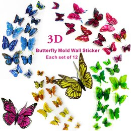 Wholesale Bedroom Group - 3D simulation butterfly three-dimensional stickers,Home art paste,wedding props,wedding decoration,home landscaping,Each group of 12.