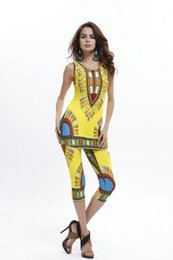 Wholesale Womens African Clothing - 2017 African Women Two Piece Set Suits Womens Print Fabric Top and Pants Womens Suits Clothing Casual Vintage African Ladies Sports Clothes