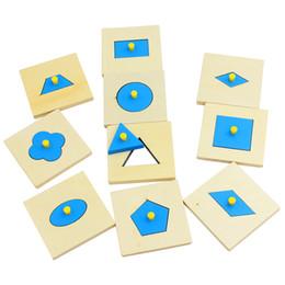 Wholesale Preschool Education Toys - Wholesale- Home Edition Montessori Math Toys Wood Geometry Shape Insets Set 10 Blue Early Childhood Education Preschool Training Kids Toys
