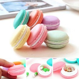 Wholesale Macaron Storage Boxes - Macaron Mini Storage Box 4.2cm Earphone SD Card Storage Case Carrying Pouch Mini Storage Box OOA3669
