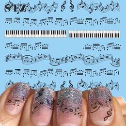 2019 impresión de etiqueta de tatuaje Venta al por mayor- Hojas STZ 1 Diseños de uñas calientes Negro Nota de música Impresión DIY Uñas Dedos Mujeres Nail Art Sticker Calcomanías Tatuajes Herramientas #Nuevo impresión de etiqueta de tatuaje baratos