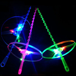 Wholesale Lighting Up Saucer - Led Flashing Hand Push Flying Saucer Toy Light Up Colorful Glowing Frisbee Toys For Kids Party Supplies ZA4876