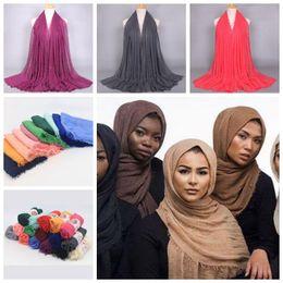 Wholesale Muslim Pashmina - 41 Colors 180*95cm Women Cotton Linen Plain Wrinkle Hijab Scarf Muslim Muffler Fashion Long Shawls Head Wraps Pashmina CCA7066 50pcs