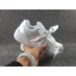 Wholesale e bow - 2017 Hot Sale Fenty Bandana Slide Sports Shoes Girl Suede Basket Running Shoes Rihanna Fenty Bow Sneakers Size us 36-40 free shopping