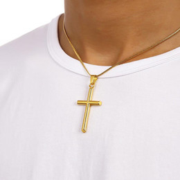 Wholesale Circle Necklace Mens - Mens Cross Necklaces Fashion Hip Hop Jewelry Gold Chokers Chains Punk Rock Rap Men Necklaces free shipping