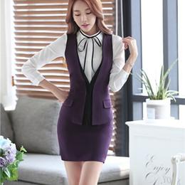 Wholesale Formal Wear Uniforms - Fashion business career ladies vest work wear uniforms Suit Slim Formal jackets vest women office vests layer vest set plus size S-4XL