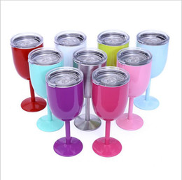 Wholesale Double Wall Tumblers - 100Pcs 10oz Stainless Steel Wine Glass 9 Colors Double Wall Insulated Metal Goblet With Lid Tumbler Red Wine Mugs 50Pcs
