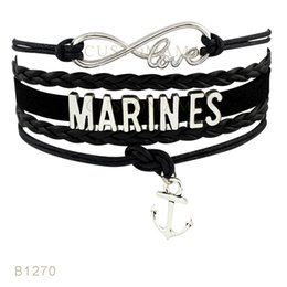 Wholesale Marine Wife - (10 Pieces Lot) Infinty Love Marines United States Marine Seattle Corps Wife Bracelet Anchor Charm Bracelet Leather Bracelet Drop Shipping
