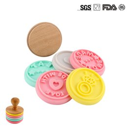 Wholesale Wooden Cartoon Stamps - New Cookies Stamp Mold Cartoon Silicone Fondant Biscuits Mold Embosser Letters Wooden Handle Stamps DIY Home Baking Made Wholesale